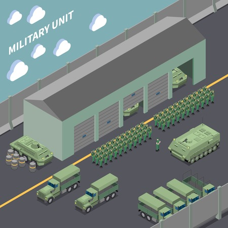 Military unit isometric composition with army trucks infantry fighting vehicles and soldiers  in the ranks vector illustration