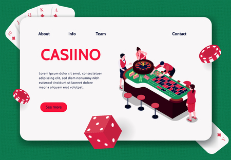 Isometric concept banner with people playing roulette in casino 3d vector illustration