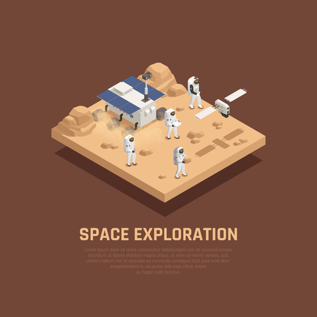 Space exploration concept with planet sufrace research symbols isometric vector illustration Ilustrace