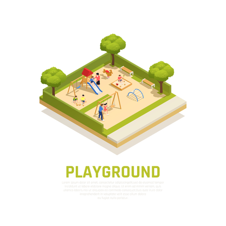 Playground isometric concept with outdoor family pastime symbols vector illustration 일러스트