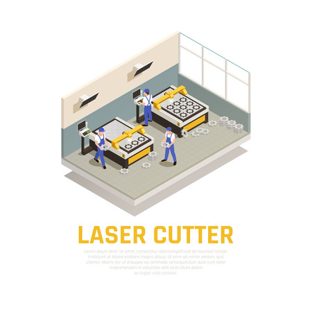 Industrial machinery composition with laser cutter symbols isometric vector illustration