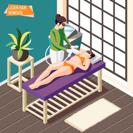 Woman doing laser hair removal procedure in beauty salon isometric background 3d vector illustration