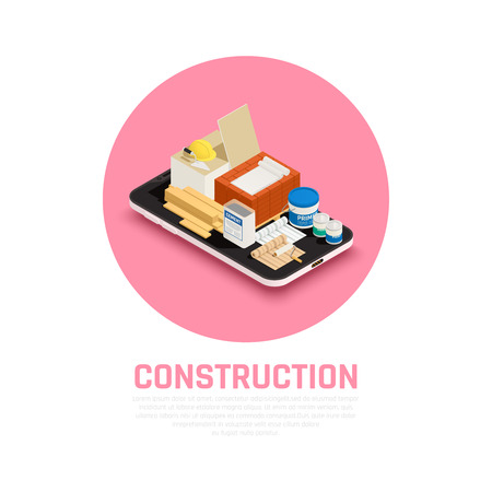 Construction industry concept with building and repairs equipment isometric vector illustration