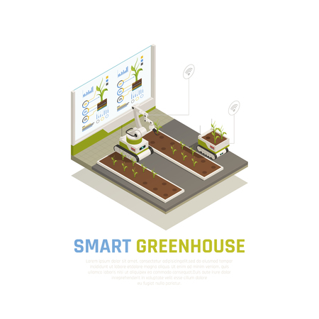 Smart farming concept with agriculture and greenhouse automation isometric vector illustration