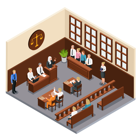 Law justice court trial isometric composition with courtroom interior defendant lawyer judge officer jury witnesses vector illustration