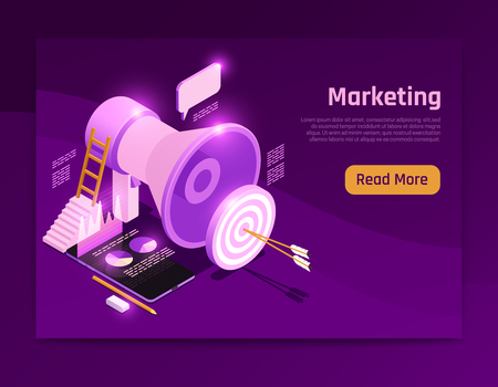 Business strategy isometric page design with marketing symbols vector illustration Иллюстрация