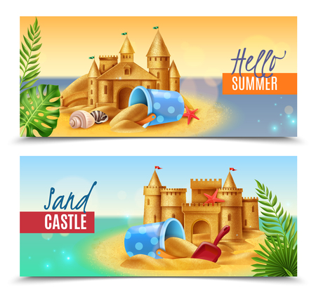 Hello summer realistic banners with sand children toys and sandy castles on south sea background vector illustration 일러스트
