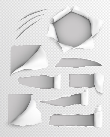 Transparent paper lacerated sheet with set of torn holes with rolled edge realistic vector illustration
