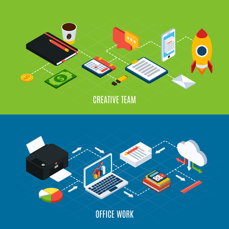 Set of two horizontal business people isometric banners with images of office workspace items and equipment vector illustration