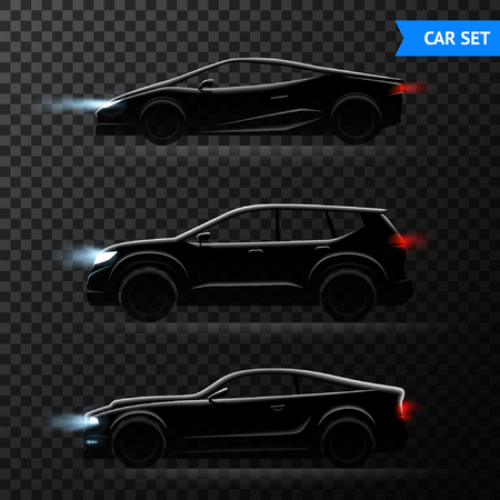 Three realistic car dark transparent icon set with different stylish models of cars vector illustration