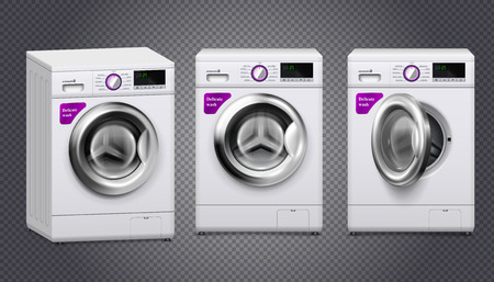 Three empty washing machines in white and silver color set isolated on transparent background realistic vector illustration Illustration