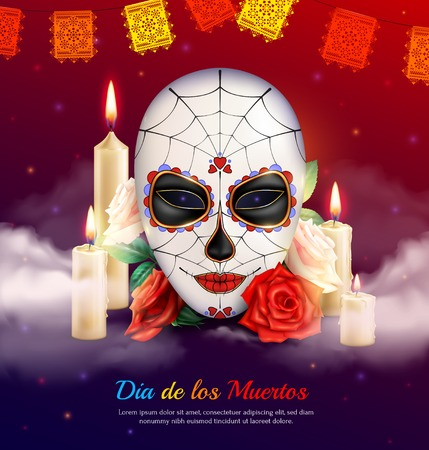 Mexican holiday day of dead realistic composition with scary mask candles and roses vector illustration Vectores