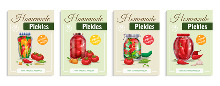 Pickles poster set with four compositions of glass vegetables in transparent mason jars with editable text vector illustration Ilustrace