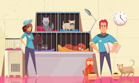 Ilustración horizontal del refugio de animales con mascotas sentadas en jaulas y voluntarios alimentando animales ilustración vectorial plana