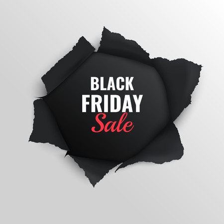 Black friday sale realistic composition on grey background with torn paper vector illustration