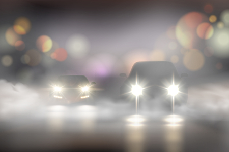 Realistic car lights in fog composition with two cars on the road and bokeh texture vector Illustration 矢量图像
