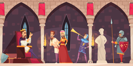 Medieval castle interior cartoon banner with king on throne lord lady knight guard horn blower vector illustration Çizim