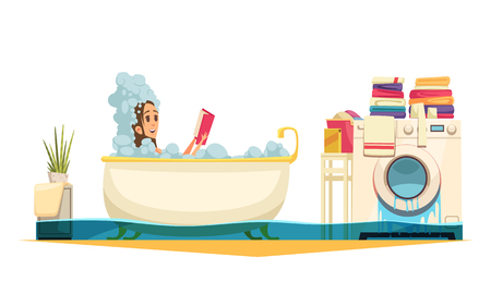 Broken washing machine bathroom flooding   emergency cartoon composition with taking bath woman need plumber help vector illustration