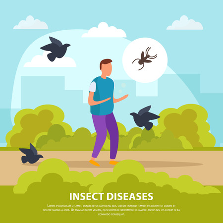 Insect diseases flat composition with walking man surrounded by birds and insects on nature background vector illustration