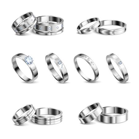 Witgoud platina edele metalen trouwringen 6 realistische geïsoleerde sets sieraden schaduw neutrale achtergrond vectorillustratie Vector Illustratie
