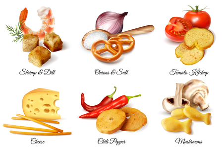 Set of six realistic design compositions  illustrated crackers snacks and flavoring additive ingredients isolated vector illustration