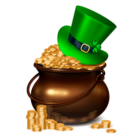 Patricks day realistic composition including pot full of gold coins covered with emerald hat decorated with shamrock and buckle vector illustration