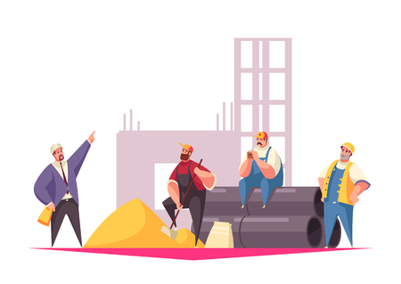 Construction vector illustration with foreman giving instructions team of builders dressed in uniform and helmets