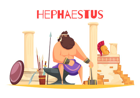 Greek gods cartoon composition with  powerful figurine of hephaestus sitting on anvil and holding hammer flat vector illustration