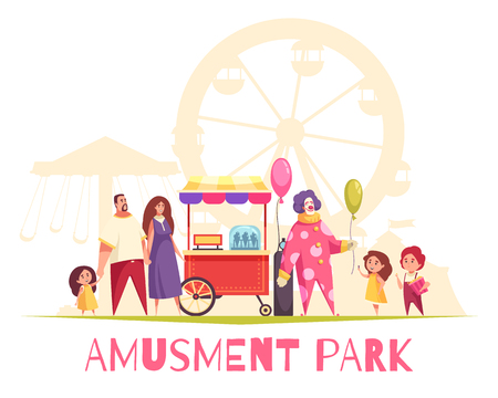 Amusement park cartoon vector illustration with clown blowing balloons by air pump for entertaining children and adults