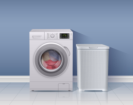 Washing machine realistic background with laundry equipment symbols vector illustration Çizim