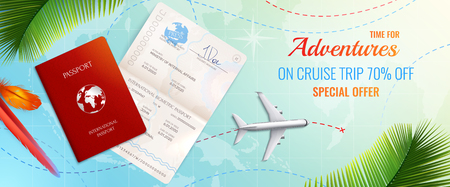 Composizione realistica di pubblicità di viaggio del passaporto biometrico con tempo per l'illustrazione di vettore di offerta speciale di avventure adventure Vettoriali