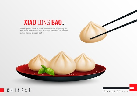 Dumplings ravioli manti colored and realistic composition with xiao long bao headline vector illustration Illustration
