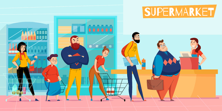 People standing in long supermarket queue lining up waiting checkout customer service horizontal flat composition vector illustration Illustration