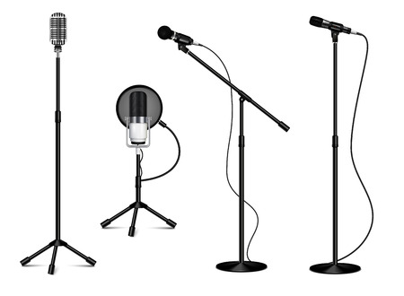Vintage collection of standing professional microphones with wire on white background in realistic style isolated vector illustration