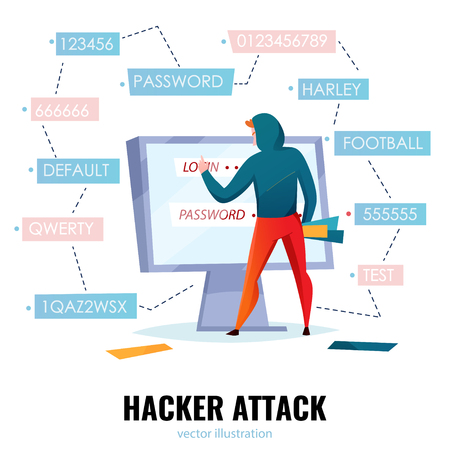 Hacker password composition with hacker attack headline and man makes password guessing vector illustration
