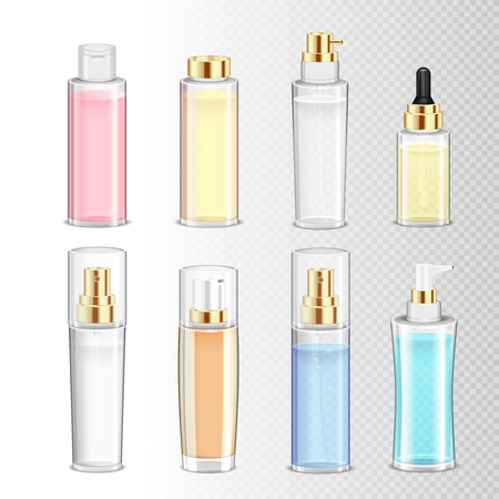 Colored set of realistic cosmetics bottles for cream perfume and liquid on transparent background isolated vector illustration Çizim