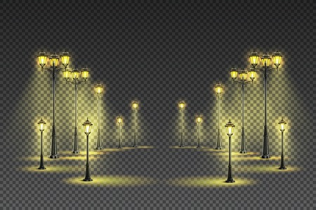 Outdoor garden street classical yellow lighting with big and small lanterns dark transparent background realistic vector illustration