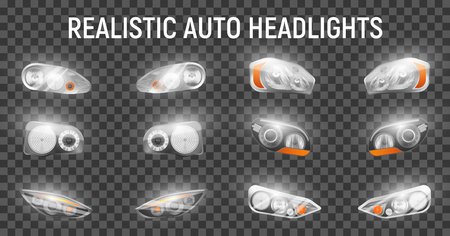 Realistic auto front headlights set on transparent background with glowing images of full headlamps for cars vector illustration