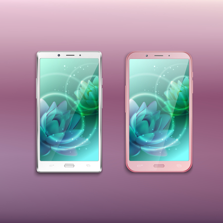 Two last generation all screen smartphones with lotus image against gradient lavender pink background vector illustration Banque d'images - 119531323