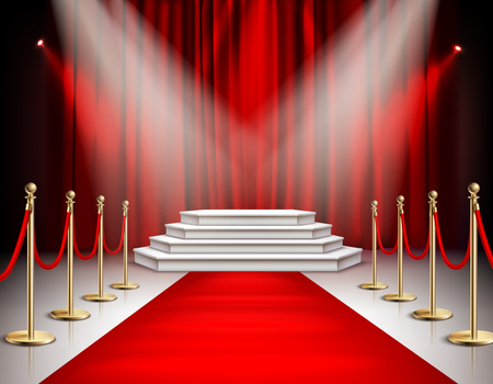 Red carpet celebrities event realistic composition with white stairs podium spotlights carmine satin curtain background vector illustration