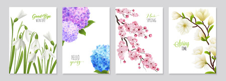 Realistic snowdrop flower banners set featuring four floral backgrounds with realistic images of flowerage and text vector illustration