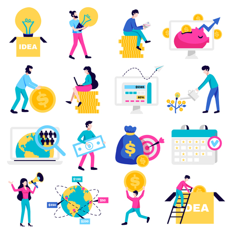 Crowdfunding money raising internet platforms for business startup nonprofit charity ideas symbols flat icons collection vector illustration