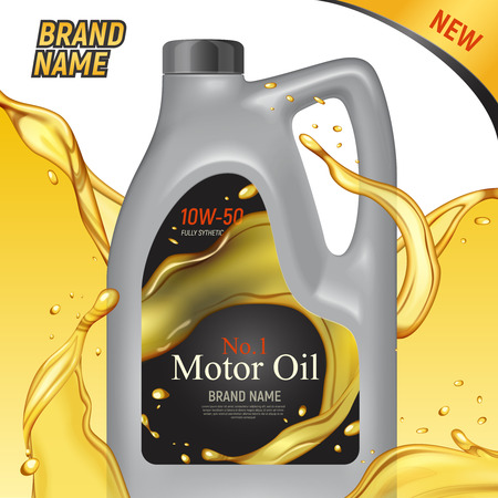 Realistic motor oil ads square background with images of plastic canister container branded package and text vector illustration