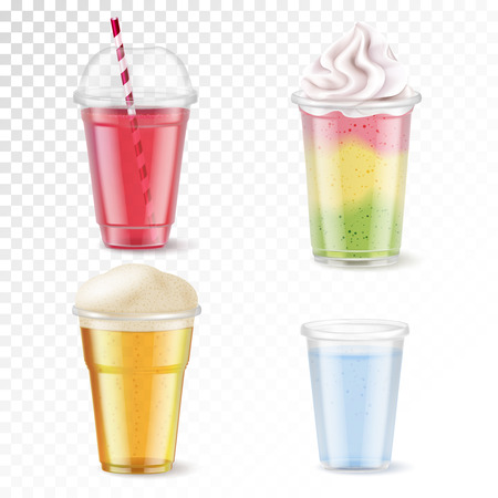 Realistic set of four disposable plastic glasses with various beverages isolated on transparent background vector illustration