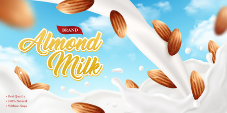 Realistic almond milk poster ad background with ornate brand text and composition of sky and nuts images vector illustration