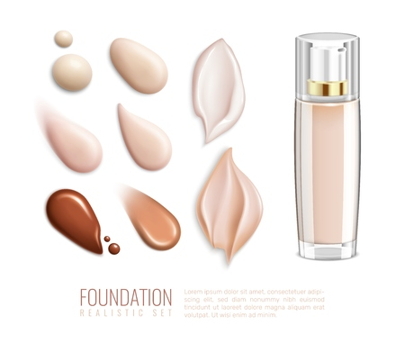 Foundation realistic smears icon set for different tones and types of skin vector illustration