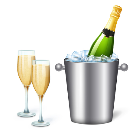 Colored realistic champagne bucket composition with cold champagne and two full glasses vector illustration