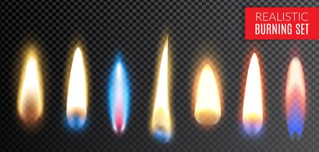 Colored isolated realistic burning transparent icon set with different colors and shapes of flame vector illustration