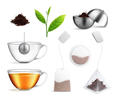 Tea brewing bag realistic icon set different types of tea brewing strainer and tea bag par example vector illustrationK