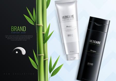 Banner pubblicitario di bottiglie per cosmetici da uomo orizzontali con il nome dell'illustrazione vettoriale del titolo del marchio